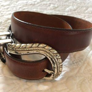 Brighton smooth brown leather belt